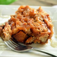Gluten/Lactose Free Apple Bread Pudding with a Hard Caramel Sauce