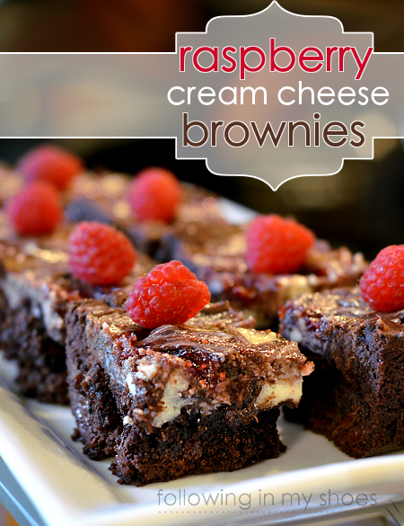 raspberry cream cheese swirled brownies