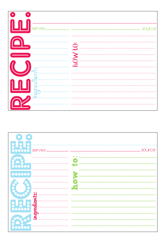 sample recipe cards