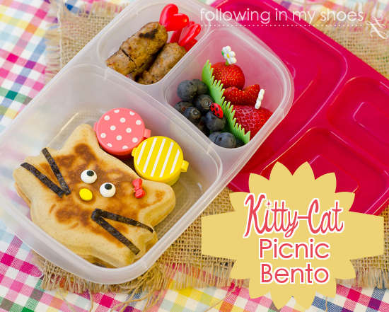 kitty cat picnic breakfast bento