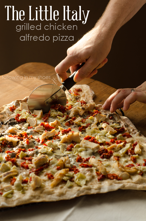 The Little Italy: Grilled Chicken Alfredo Pizza with Sun-Dried Tomatoes and Artichokes