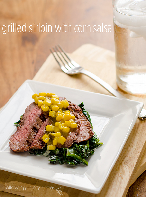 Grilled Sirloin and Creamed Greens with Spicy Corn Salsa