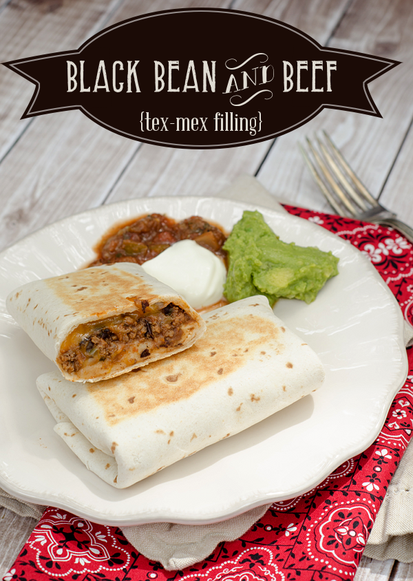 Black Bean and Beef Burritos filling - also great for pizza #freezerfriendly #texmex
