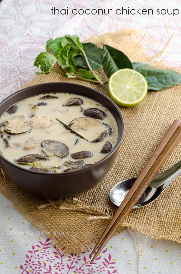 Thai Coconut Chicken Soup - Thom Kha Gai Soup