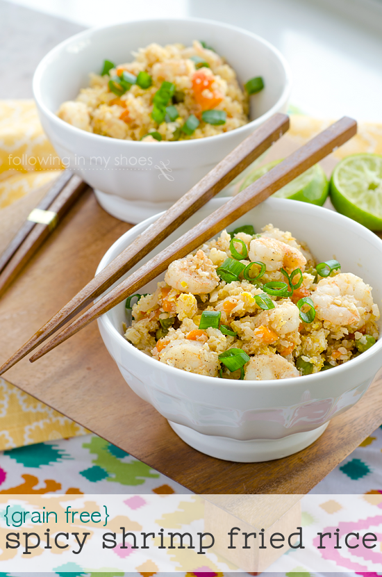 Spicy Shrimp Fried Cauliflower Rice {GF}