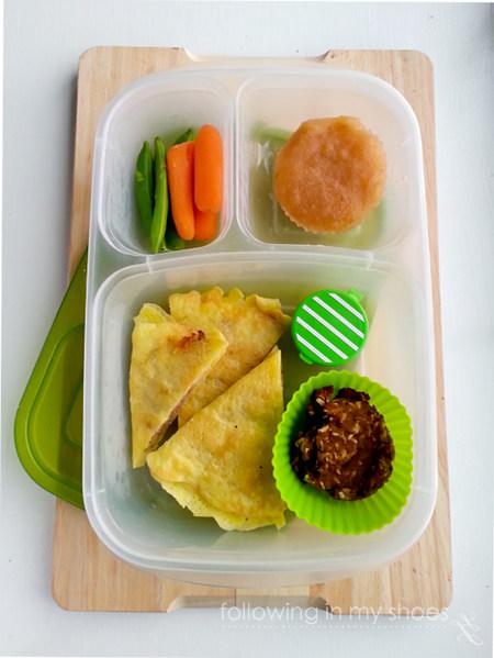 grainfree lunch idea: egg-crepe quesadillas, grainfree breakfast cookie, veggies and dip, frozen applesauce