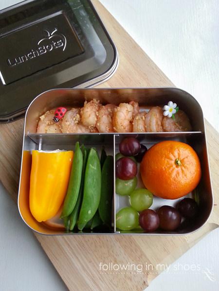 grainfree lunch idea - garlic shrimp, cream cheese stuffed sweet pepper, peas, grapes, orange