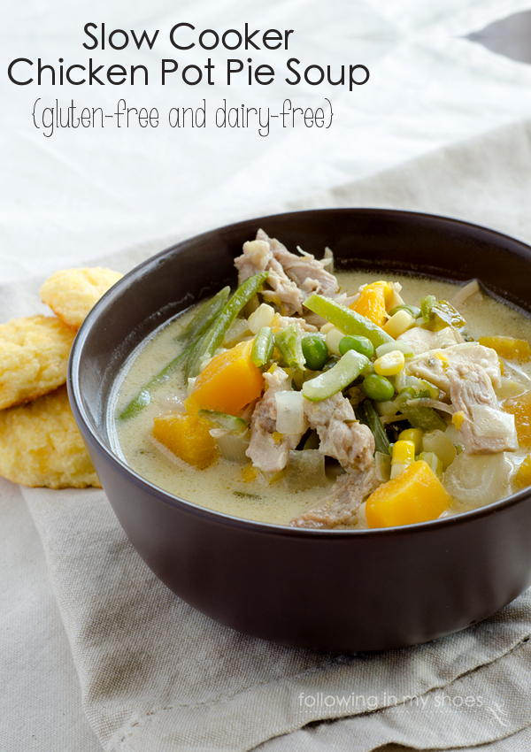 #glutenfree #dairyfree Slow Cooker Chicken Pot Pie Soup