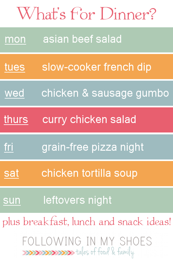 a #grainfree weekly menu