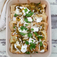 Grain Free Chicken and Mushroom Enchiladas Verdes