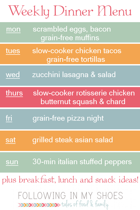 a week of #glutenfree menu ideas
