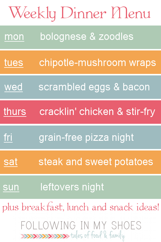#grainfree meal plan 3-10-14