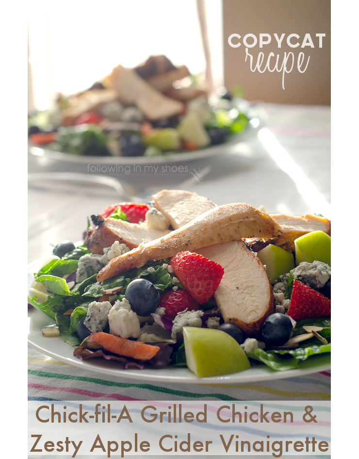 Copycat Chickfila Grilled Market Salad -- the marinated grilled chicken AND the Zesty Apple Cider Vinaigrette.  YES! #copycat