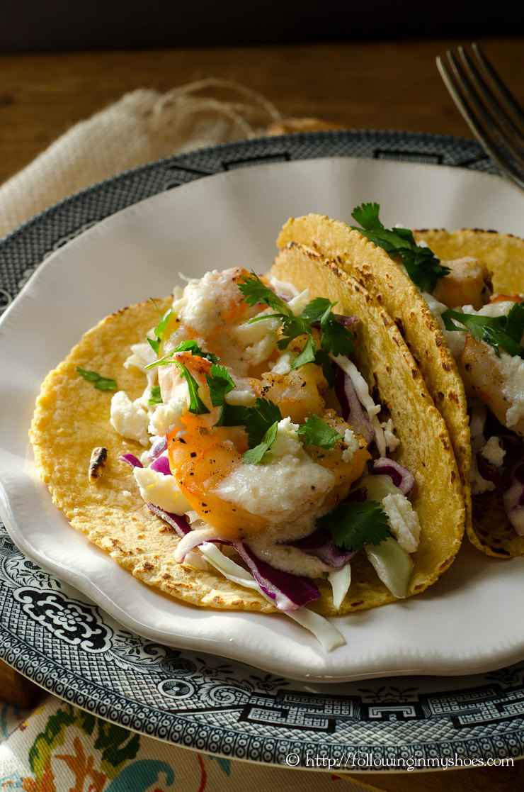 Grilled Shrimp Tacos with Creamy Lemon Sauce (grain-free options)