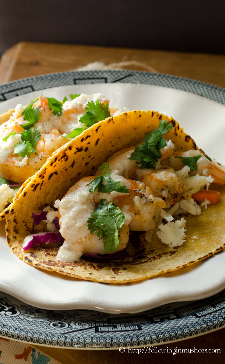 Los Cucos Grilled Shrimp Tacos with Creamy Lemon Sauce