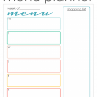 Back to School FREE Printable Menu Planner