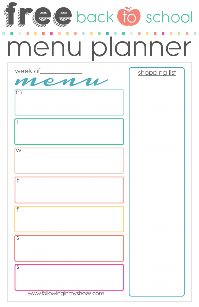 Free printable menu for back to school