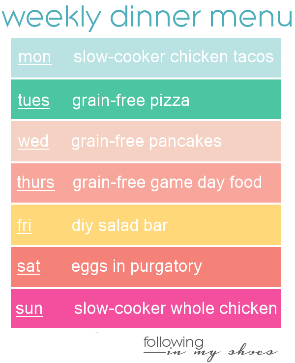 #grainfree meal plan 8-25-14