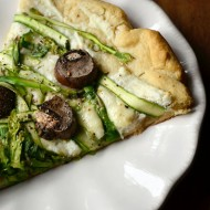 Shaved Asparagus and Portobello Three Cheese Pizza