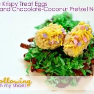 Rice Krispies Easter Eggs in Chocolate Pretzel Nests