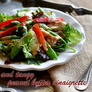 Simple Summer Veggie and Chicken Salad with Peanut Butter Vinaigrette