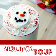 Snowman Soup {slow cooker white hot chocolate}