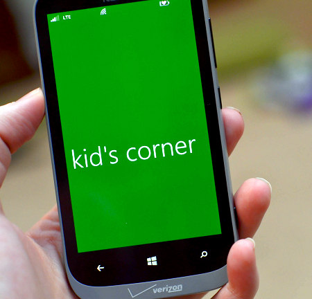 kids corner on windows 8 phone