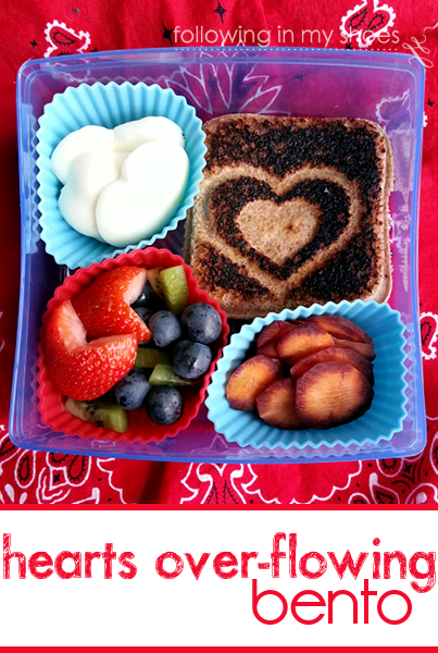 stamped heart grilled cheese sandwich bento