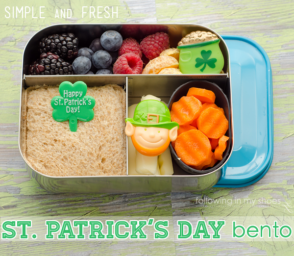 St Patrick's Day Bento in a Lunchbot Trio