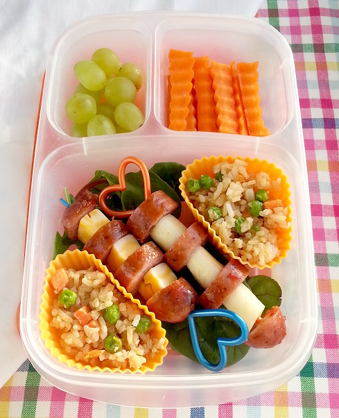leftover dinner on a stick bento