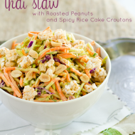 Thai Slaw with Roasted Peanuts and Spicy Rice Cake Croutons