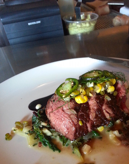 Sous vide steak with corn relish