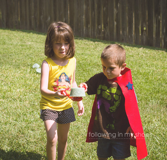 Kryptonite Game for Superhero Preschool Birthday Party