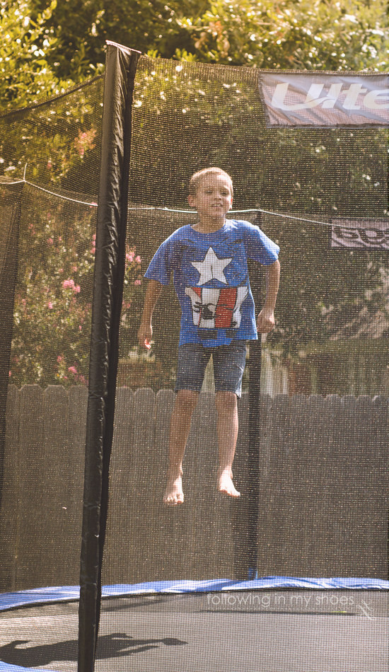 Practicing Superman Leaps for Superhero Party Game Idea