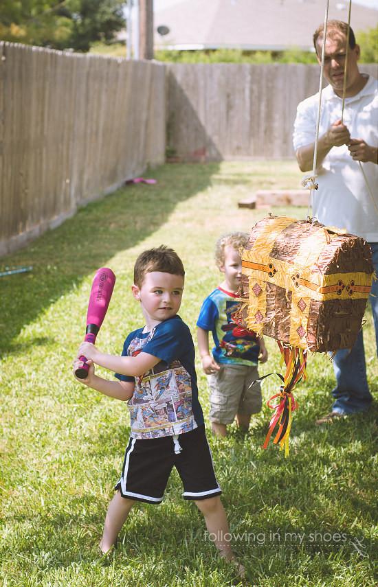 Superhero Pinata Time for Superhero Preschool Party Idea