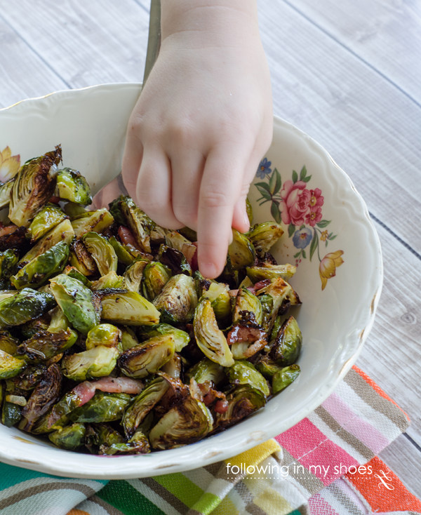 Bacon Roasted Brussels Sprouts- Kidlet Approved