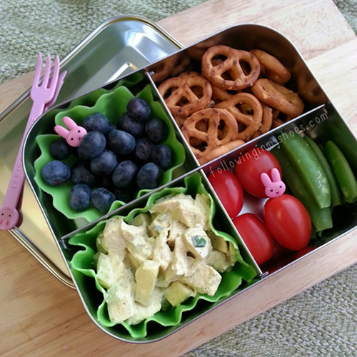Curry Chicken Salad and Pretzels for an easy school lunch