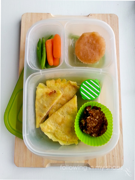 grainfree lunch idea: egg-crepe quesadillas, grainfree breakfast cookie, veggies and dip, frozen applesauce