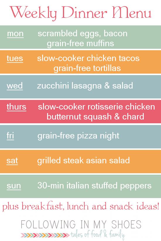 a week of #glutenfree menu ideas