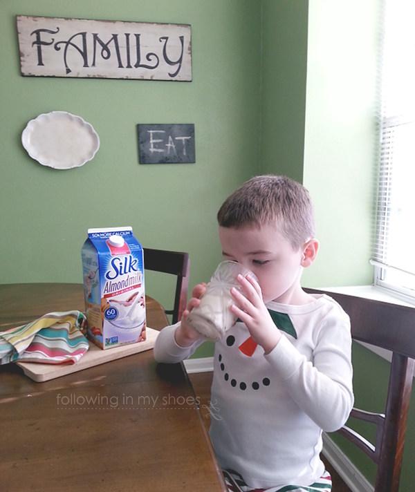 enjoying almond milk