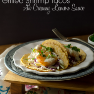 Grilled Shrimp Tacos with a Creamy Lemon Sauce {grain-free options}