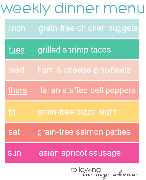 #grainfree meal plan 8-11-14