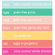 The First Week Back to School (grain free meal-plan 8-25-14}